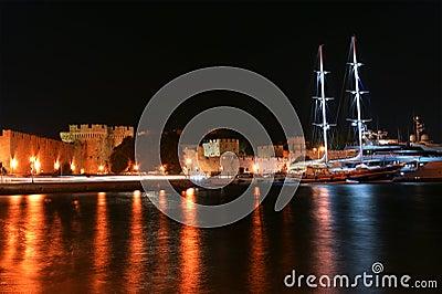 Rhodes island landmark, Mandraki Port, Greece
