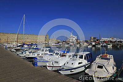 Rhodes Island port Editorial Stock Image