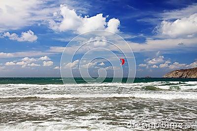 Rhodes. Prasonisi .windsurfing sport.