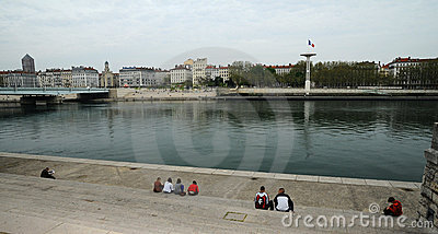 The Rhone banks in Lyon Editorial Stock Image