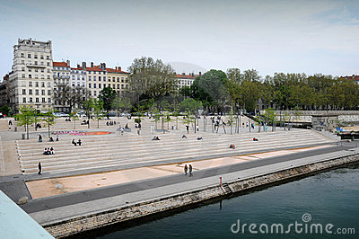 The Rhone banks in Lyon Editorial Photography