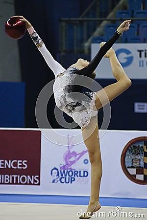 Rhythmic gymnast Daria Svatkovskaya Pesaro WC 2010 Editorial Image