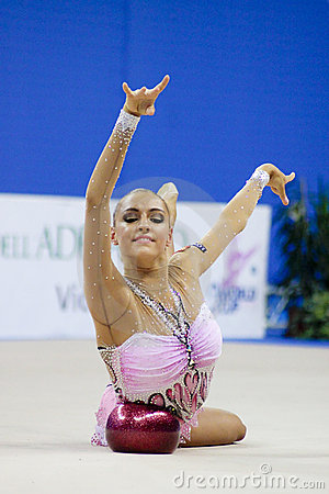 rhythmic gymnast Evgeniya Kanaeva WC Pesaro 2010   Editorial Photo