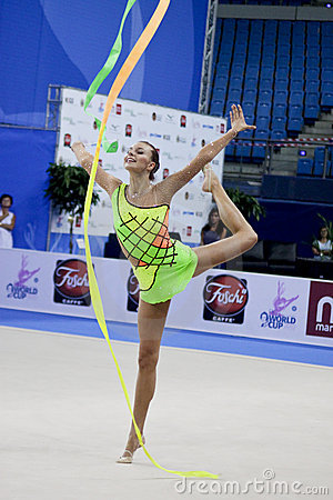 rhythmic gymnast Joanna Mitrosz  Pesaro WC 2010 Editorial Stock Image