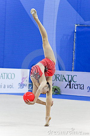 rhythmic gymnast Senyue Deng Pesaro WC 2010 Editorial Photography
