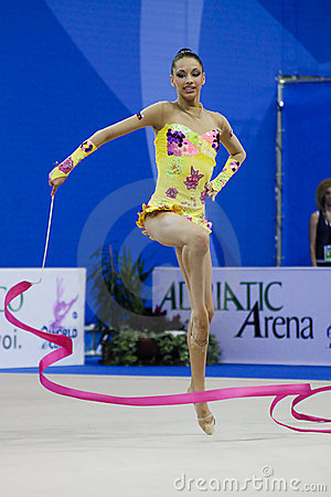 rhythmic gymnast T. Stoyanova Pesaro WC  10 Editorial Stock Image