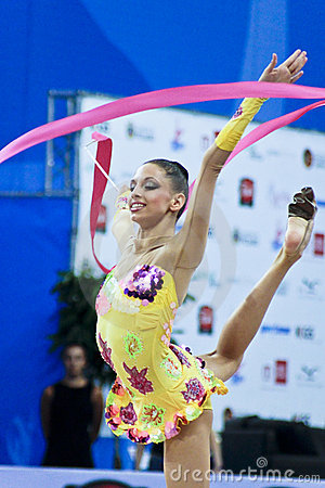 rhythmic gymnast T. Stoyanova Pesaro WC  10 Editorial Stock Photo