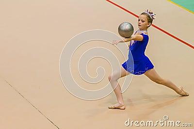 Rhythmic Gymnastics Girl Ball Balance