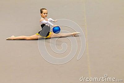 Rhythmic Gymnastics Girl Ball Control Splits