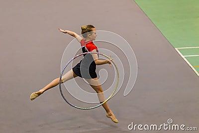 Rhythmic Gymnastics Girl Hoop Flight Dance