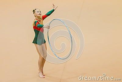 Rhythmic Gymnastics Girl Hoop Focus Dance