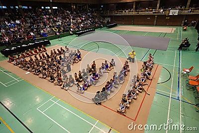 Rhythmic Gymnastics Teams Girls Seated Editorial Photo