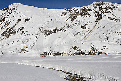 Riale: small village on the alps in winter