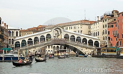 Rialto bridge and gondola Editorial Photography