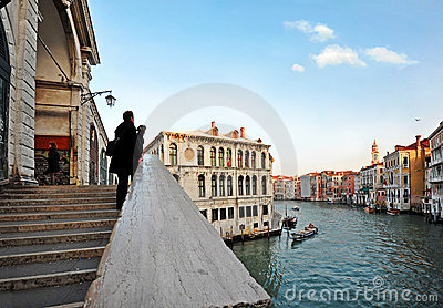 Rialto Bridge and Grand Canal in Venice Editorial Photo