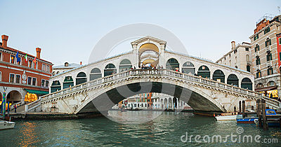 Rialto Bridge (Ponte Di Rialto) in the evening Editorial Stock Photo