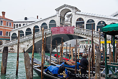 Rialto Bridge in Venice Editorial Stock Image