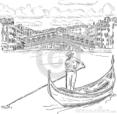 Free Rialto Bridge With Gondola Stock Image - 33006711