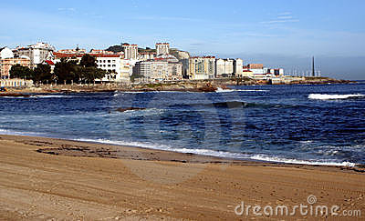Riazor beach in La Coruna, Spain.
