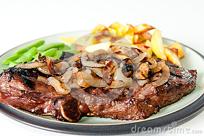 Rib steak and onions