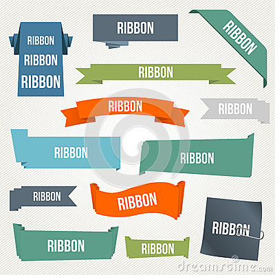 Ribbon and banner set Vector Illustration