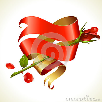 Ribbon banner in the shape of heart and red rose