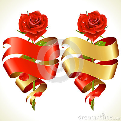 Free Ribbon Banners In The Shape Of Heart And Red Rose Royalty Free Stock Image - 28801496