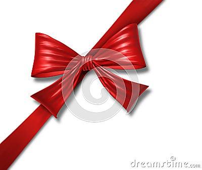Ribbon bow gift red silk tape box diagonal christm