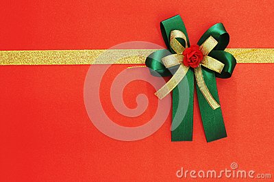 ribbon and bow on red