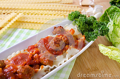 Ribbon noodles with meatballs