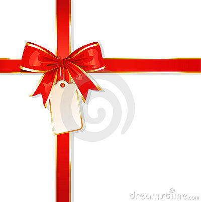 Ribbon / red bow / with card / vector