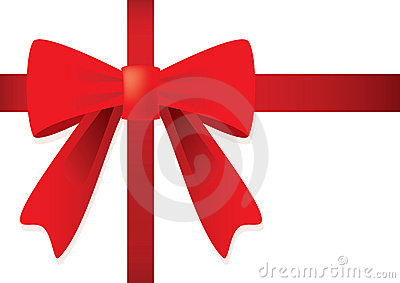 Ribbon and red bow for gift.