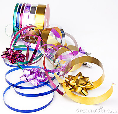 Ribbon reel with colorful ribbons and bows