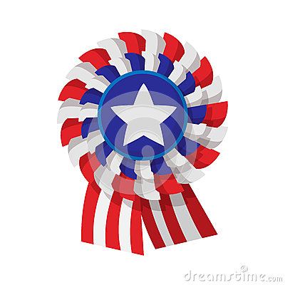 Ribbon rosette in the USA flag colors cartoon icon Vector Illustration