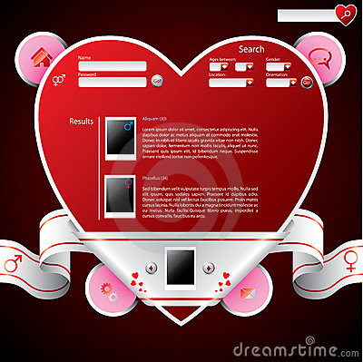 Ribbon wrapped heart shape website template