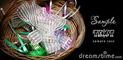 Ribbons in basket