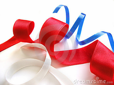 Ribbons - blue, red and white