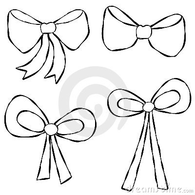 Ribbons Bows Line Art