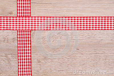 Ribbons of cloth red and white checkered