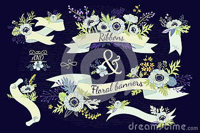 Ribbons and floral banners. Stock Photo