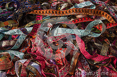Ribbons on market stall
