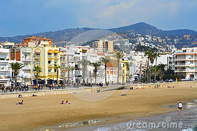 Ribera Beach in Sitges, Spain Editorial Stock Image