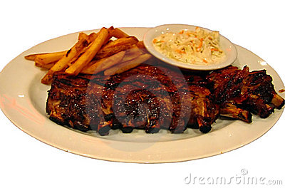 Ribs, fries and coleslaw