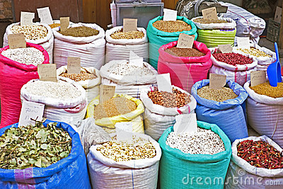 Rice, beans, dried fruits on a market