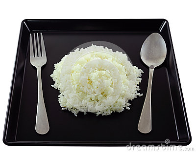 Rice in black plate.