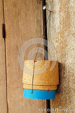 Rice box made of bamboo