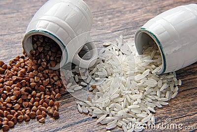 Rice and buckwheat