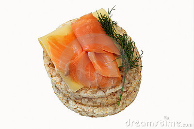 Rice cakes with salmon
