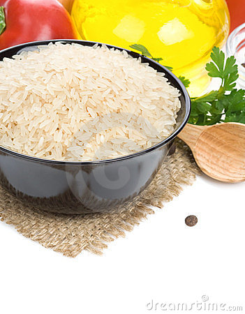 Rice and food ingredient on white