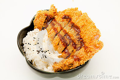 Rice and fried pork cutlet
